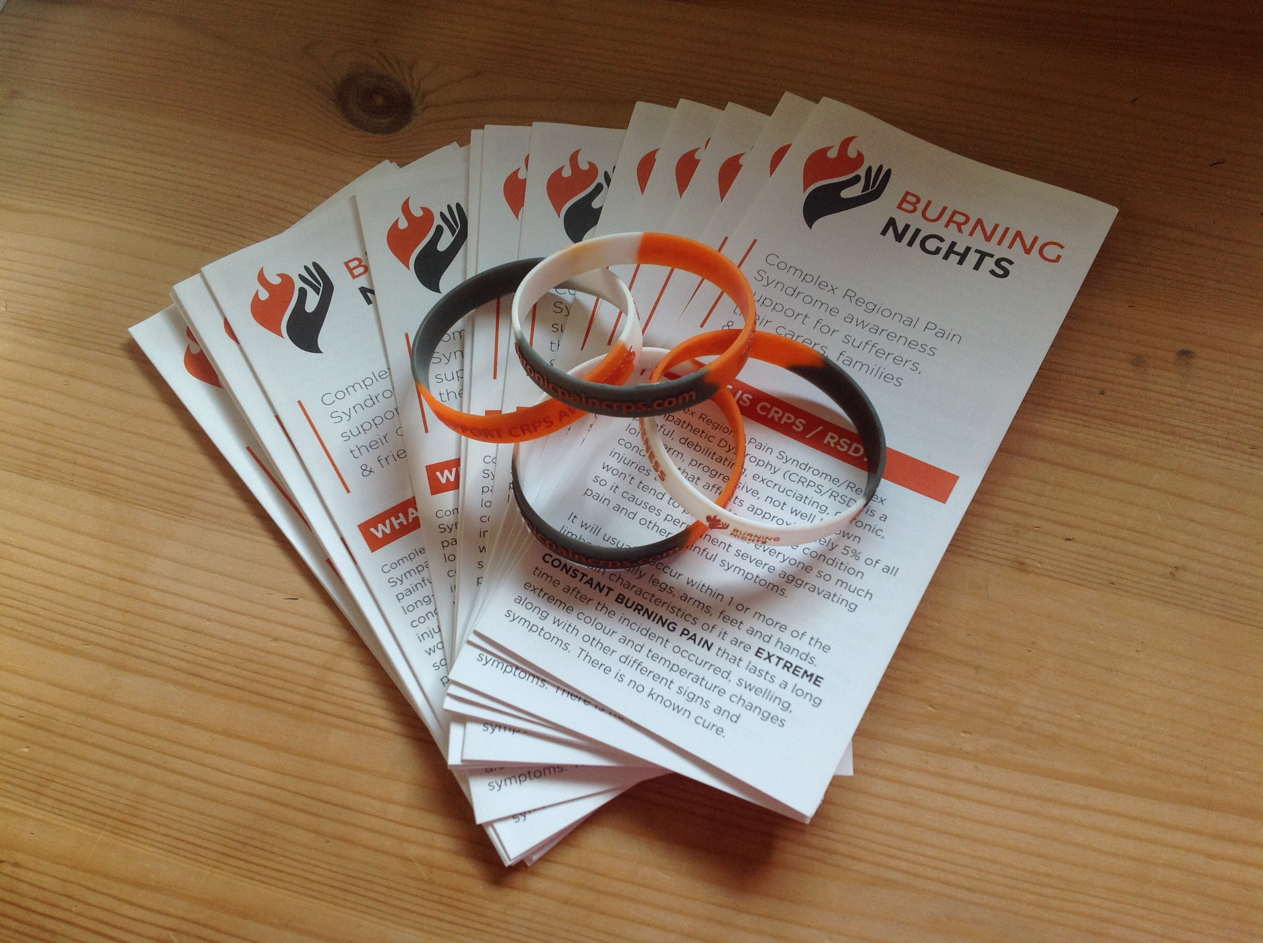 Support CRPS awareness wristband and leaflet