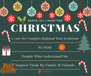12 Tips on how to cope through the Christmas Holidays wile living with CRPS or chronic pain | Merry Christmas from Burning Nights CRPS Support