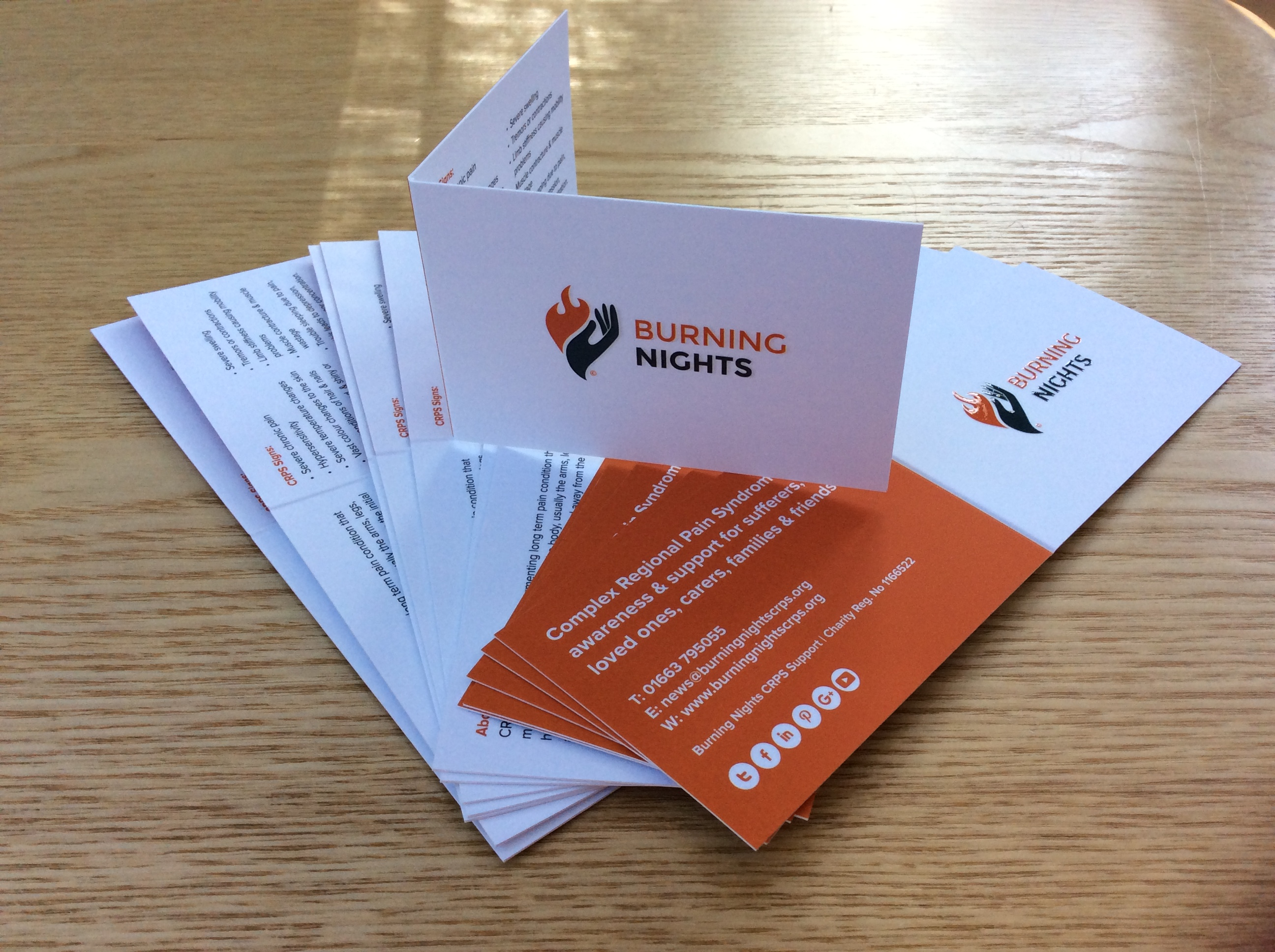 CRPS-RSD Awareness and Information Folded Cards can be purchased via Burning Nights CRPS Support charity. Always keep a description of CRPS handy