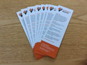 CRPS/RSD Awareness and Support Bookmarks can be purchased via Burning Nights CRPS Support