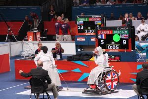 Gemma Collis wheelchair fencer in action