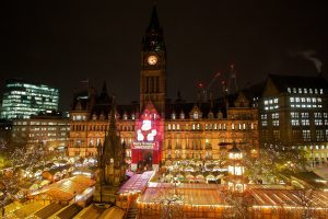 Manchester Town Hall turned orange on 23 November 2015