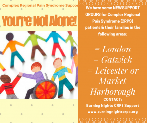 We have 2 CRPS support groups currently running in Manchester and Bath/Bristol. However we're looking at setting up CRPS support groups in Central London, Gatwick and Leicester/Market Harborough. If you're interested in coming along please contact us.