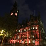 Manchester Town Hall Orange Lights Change 2016