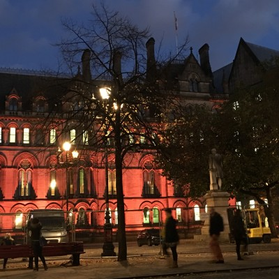 Manchester Town Hall lights change 1 Nov 2016
