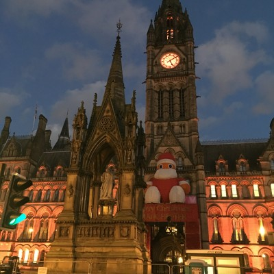 Manchester Town Hall lights change - hall and Clock Tower