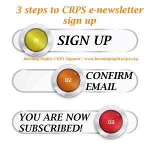 CRPS e-newsletter | 3 steps to sign up to our newsletter | Burning Nights CRPS Support