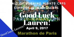 Paris Marathon fundraiser in aid of Burning Nights CRPS Support