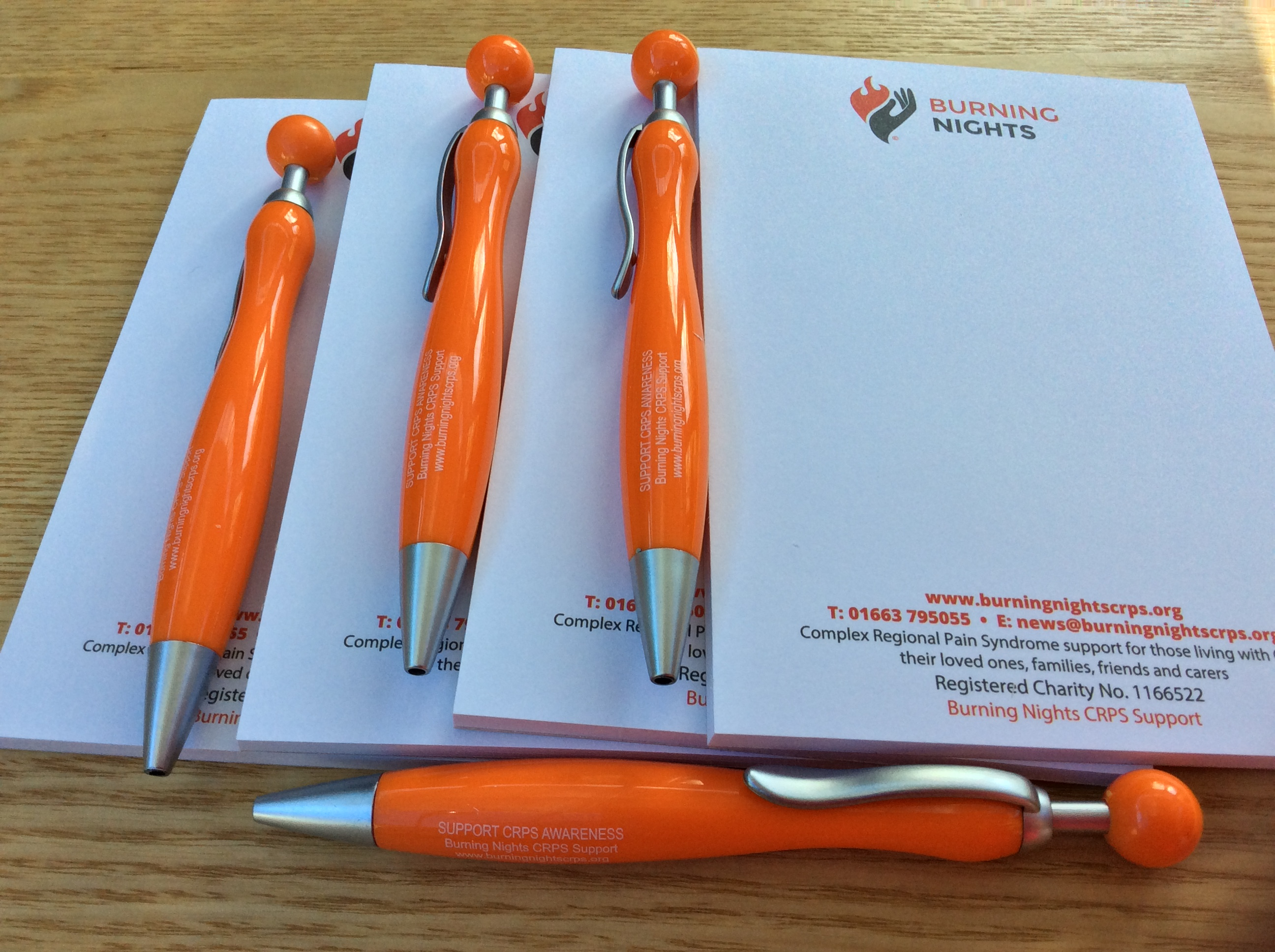 CRPS Support Notepad and Pen Set from Burning Nights CRPS Support charity