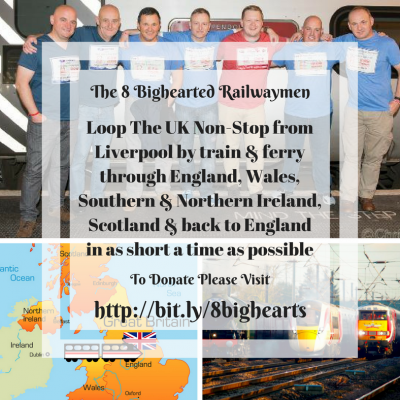 The 8 Bighearted Railwaymen Fundraiser during CRPS awareness month of November in aid of Burning Nights CRPS Support - The team involved!