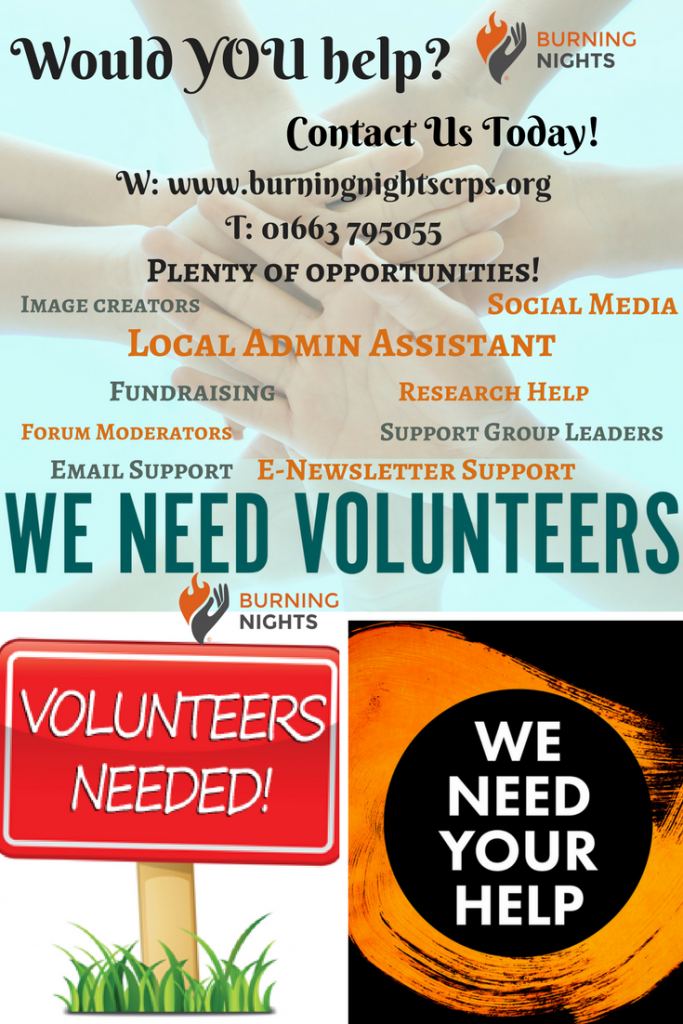 Volunteers Wanted for Burning Nights CRPS Support - Would YOU help? Contact us for more information