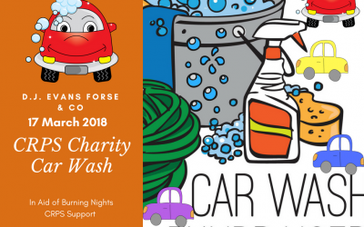 On Saturday 23 June 2018 DJ Evans Forse & Co will be doing a charity car wash fundraiser in aid of Burning Nights CRPS Support! Why not go along support the charity by getting your car washed?!