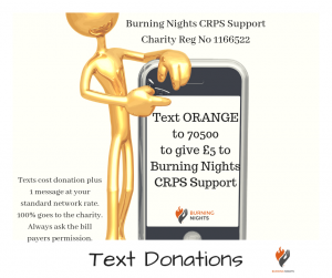There are many Other Ways to Donate to Burning Nights CRPS Support including Text Donations