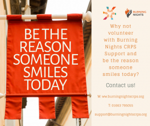Other Ways to Donate and Support Burning Nights CRPS Support | Volunteering - Why not volunteer with Burning Nights CRPS Support and be the reason someone smiles today