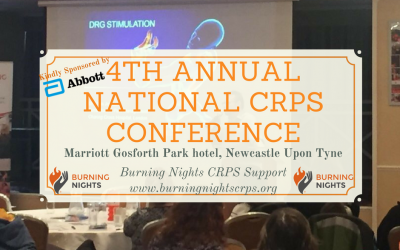 This year's 4th Burning Nights CRPS Support Annual National CRPS Conference is taking place on Sunday 4th November 2018 at the Marriott Gosforth Park hotel, Newcastle. This year our conference has been kindly sponsored by Abbott, one of the world's leading medical device companies and indeed makers of the Dorsal Root Ganglion (DRG) stimulator for Complex Regional Pain Syndrome (CRPS) treatment