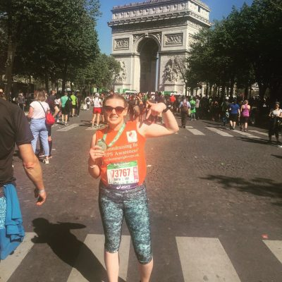 CRPS Fundraiser in aid of Burning Nights CRPS Support - Lauren running in the Paris Marathon
