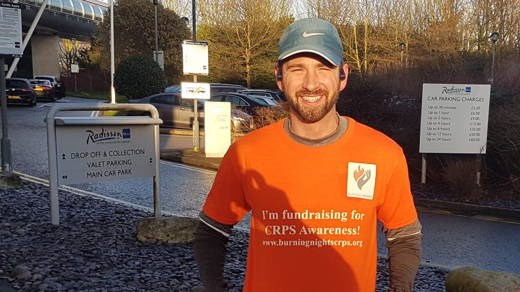 Here's David just about to start on his training run to get ready for the London Marathon in April 2018. David is running the London Marathon in aid of Burning Nights CRPS Support charitu