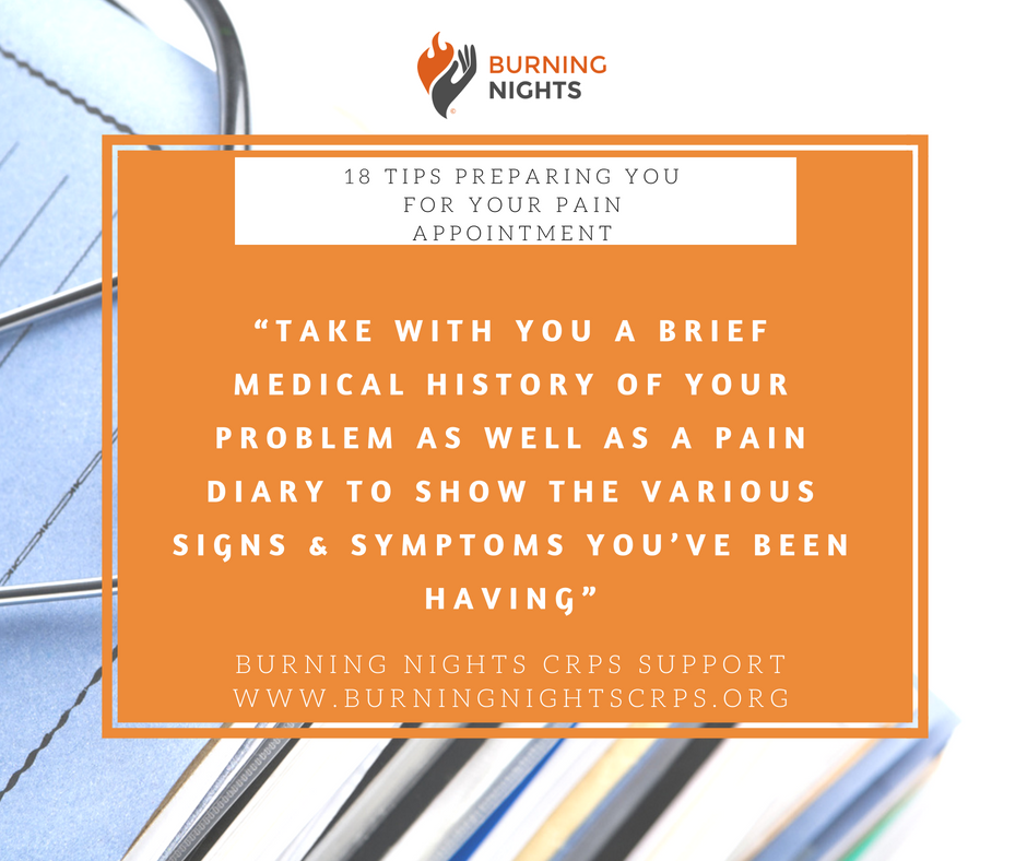 Tip 1 of the 18 Tips Preparing You For Your Pain Management Appointment is all about taking your medical history and the history of your problem with you. This will help to remind you what has gone on, when the problem started, signs and symptoms and more #CRPS #RSD #CRPSSupport #ChronicPain #PainManagment