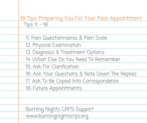 Receiving your first pain management appointment letter can give you mixed emotions all at once. Our blog, 18 Tips Preparing You For Your Pain Appointment, will hopefully help you get ready for the appointment to ensure that you make the most out of your time. Tips 11 - 18 are to help you after you've had the physical examination and what else you need to remember to do, say or find out