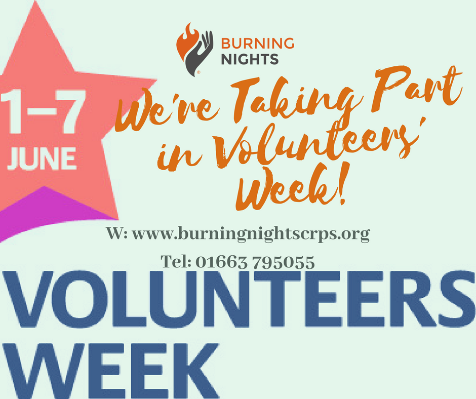 It's Volunteers' Week 2018 between 1st - 7th June! Why not get involved and start volunteering with Burning Nights CRPS Support?! We are a small UK charity dedicated to raising awareness of Complex Regional Pain Syndrome (CRPS) and we rely totally on volunteers. Why not have a chat with us and see where you skills can fit in? Contact us on www.burningnightscrps.org or 01663 795055