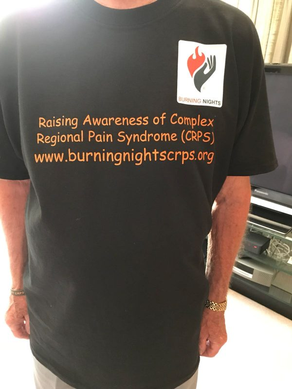 Check out the Burning Nights CRPS Support charity 100% cotton CRPS awareness t-shirt