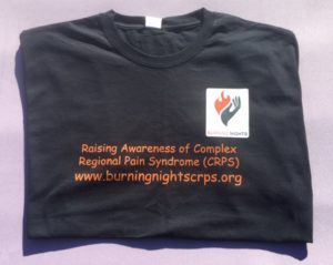 Burning Nights CRPS Support have a CRPS awareness 100% cotton, black t-shirt to help raise awareness of Complex Regional Pain Syndrome. Get your CRPS awareness t-shirt today and you'll receive a free CRPS information leaflet.