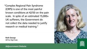 Campaign to Raise Awareness of Complex Regional Pain Syndrome (CRPS) - Ruth George MP comment