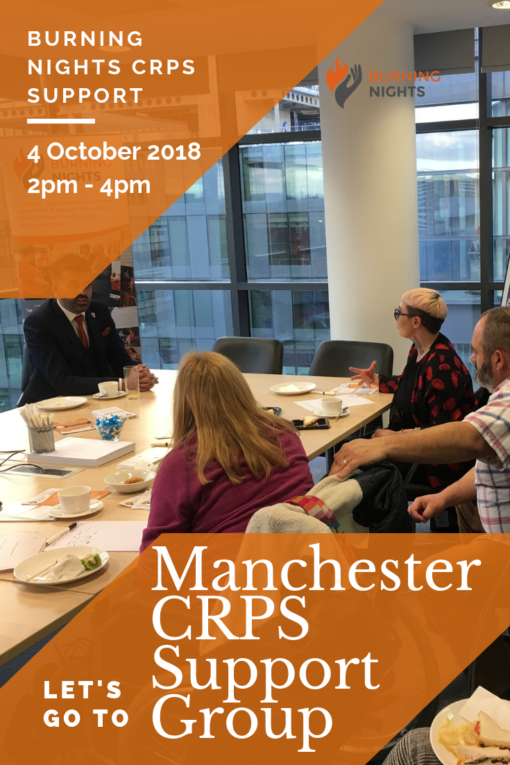 Burning Nights CRPS Support have organised their next Manchester Complex Regional Pain Syndrome support group! Come along to our Manchester CRPS Support Group on 4th October 2018.