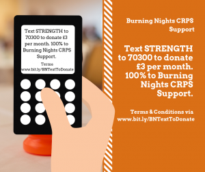 Text To Donate - Regular Text Donation to Burning Nights CRPS Support.