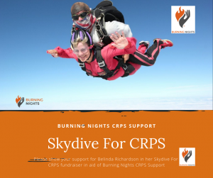 Support Belinda's Skydive For CRPS fundraiser in aid of Burning Nights CRPS Support