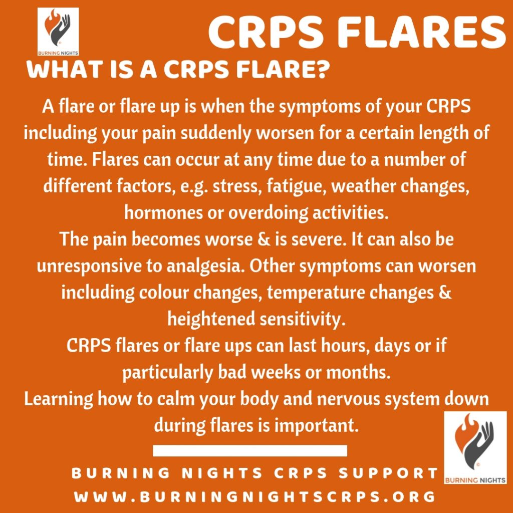 Understand what CRPS flare ups are via our articles 5 Common Myths of CRPS Flare Ups - Burning Nights CRPS Support