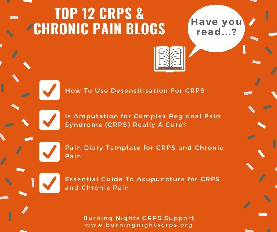 Top 12 CRPS and Chronic Pain Blog Articles You Need To Read - Desensitisation, Amputation, Pain Diary and Acupuncture for CRPS and chronic pain