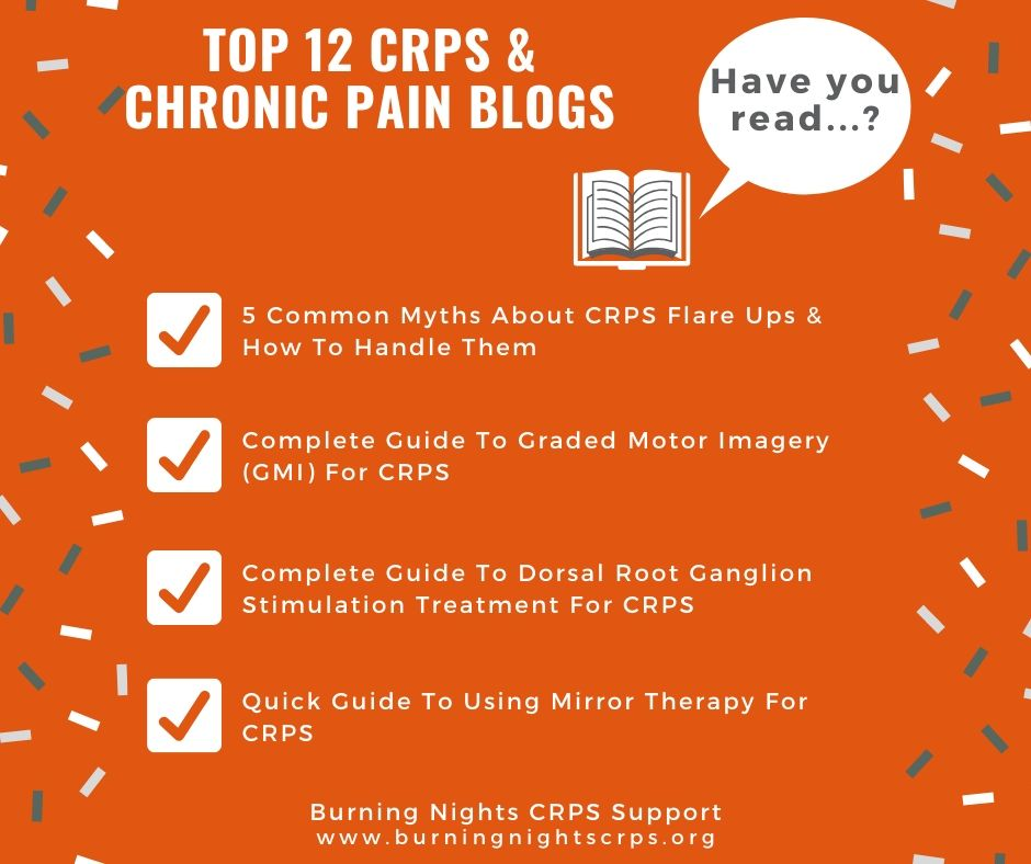 Top 12 CRPS and Chronic Pain Blog Articles You Need To Read - common myths of CRPS flare ups, guide to Graded Motor Imagery, Dorsal Root Ganglion stimulation treatment and mirror therapy for CRPS