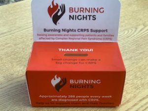 Home Collection Box - collect donations at home in aid of Burning Nights CRPS Support