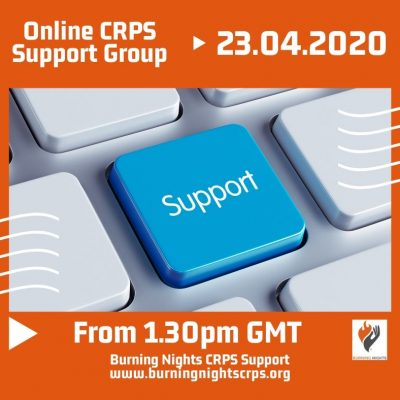 Join us at our next online Complex Regional Pain Syndrome support group on Thursday 23 April 2020 starting at 1.30pm UK time