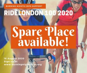 We have 1 spare charity place in the Ride London 100 2020. If you are interested in taking up this place please get in touch with Burning Nights CRPS Support