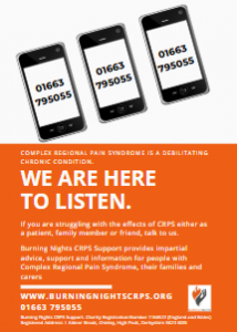 We are here to listen - call Burning Nights CRPS Support's helpline today