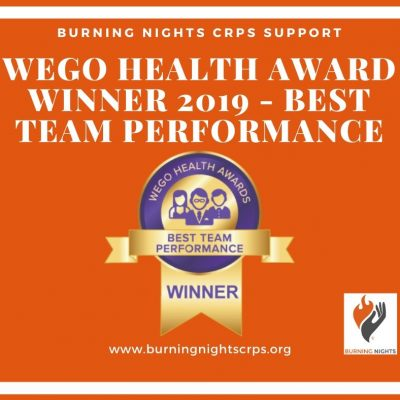 WEGO Health Awards 2019 Winner of Best Team Performance - Burning Nights CRPS Support