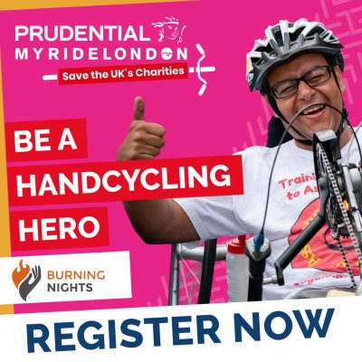 Join us for Prudential My Ride London virtual event 2020 and help save the UK charities including Burning Nights CRPS Support