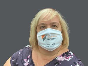 Reusable Face Mask - Woman wearing size Large face mask - in aid of Burning Nights CRPS Support