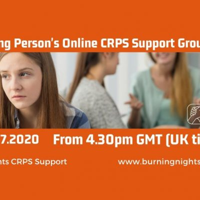 Join Burning Nights CRPS Support at our first young person's online CRPS support group on Wednesday 22 July at 4.30pm