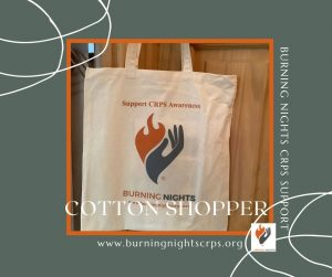 Burning Nights CRPS Reusable Cotton Shopper available from our charity shop