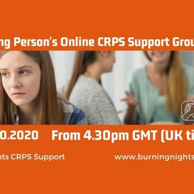 Join our October 2020 Young Person's CRPS Support Group on 20th October at 4.30pm (UK time) for those of you diagnosed with CRPS and under 18 years of age