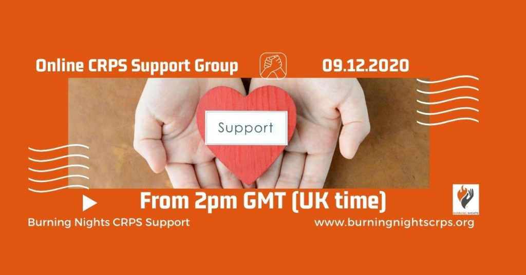 Online CRPS Support Group on 9th December 2020 starting at 2pm UK time