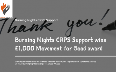 Burning Nights CRPS Support wins £1,000 Movement for Good award
