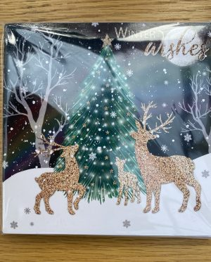 Christmas cards - Christmas Deers in the Snow with a Christmas tree in the background